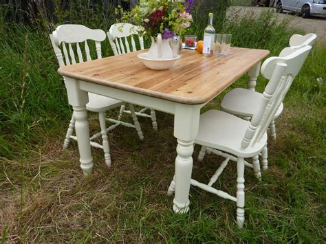 Antique Pine Farmhouse Table And 4 Chairs Painted Vintage - Antique Farmhouse Chairs - Lovingheartdesigns