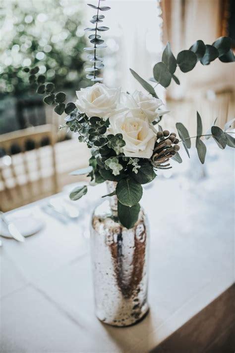 picture   mercury glass vase  white roses  fresh
