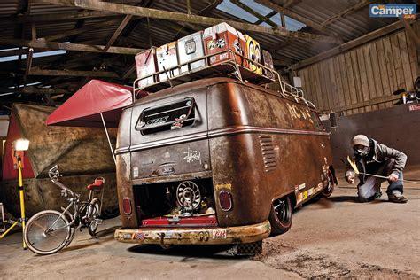 bus rusty vw volkswagen camper t1 van wagon rat panel