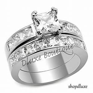 375 ct princess cut aaa cz stainless steel wedding ring With womens cz wedding ring sets
