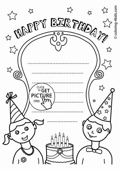 Coloring Birthday Happy Pages Printables Card Printable