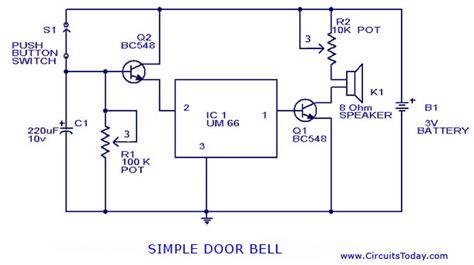 Electronic Bell Circuit Diagram by Doorbell Circuit Using Um 66 Ic Circuit Diagram World