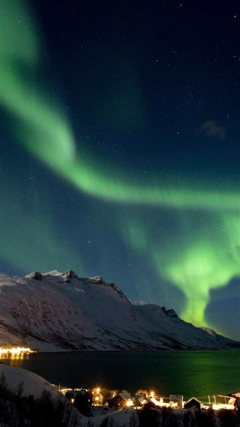 mountains landscapes aurora borealis arctic wallpaper