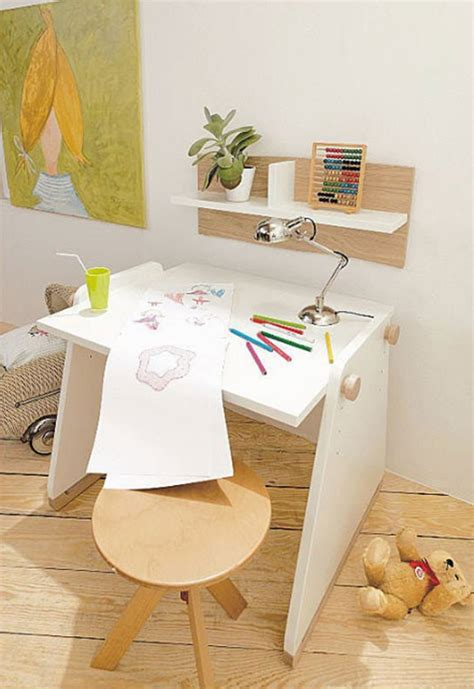 wooden kids office room  desk chairs