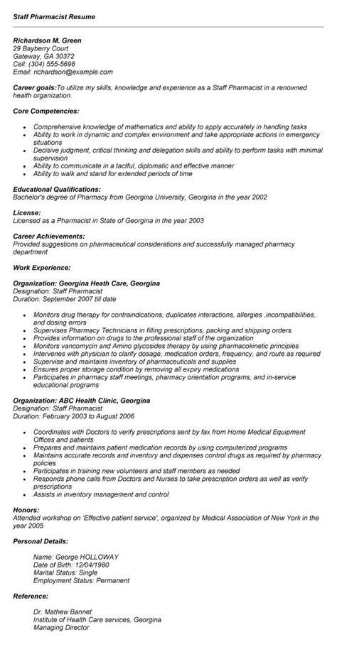 pharmacist resume format india 13 resume
