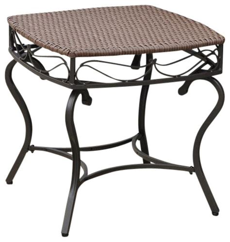 resin outdoor side table wicker resin steel patio side table in antique brown