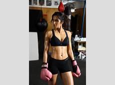 Padma Lakshmi boxes in Fall 2011 Danskin campaign Boxing