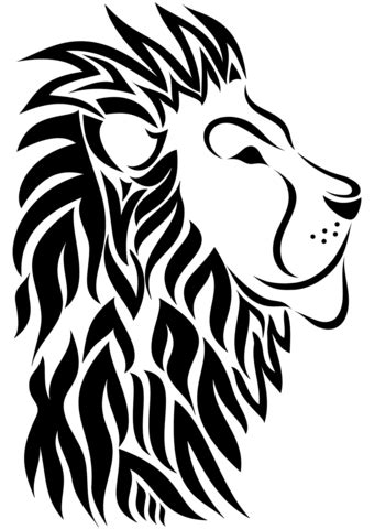 tribal lion tattoo coloring page  printable coloring