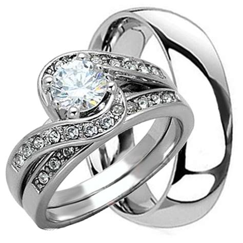 3 pcs his and hers titanium 925 sterling silver wedding