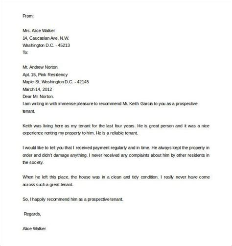 sample tenant recommendation letter  word