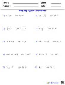 Algebra Beginner Worksheets Pre Algebra Worksheets Algebraic Expressions Worksheets