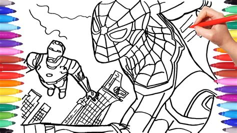 spider man  iron man coloring pages drawing coloring