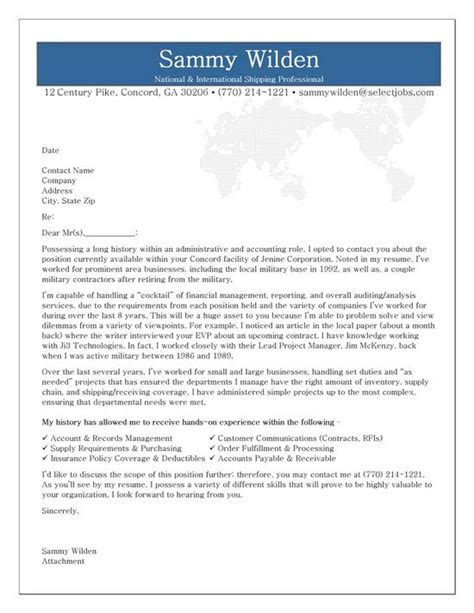 administrative cover letter exle