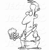 Beer Cartoon Holding Coloring Outline Pensive Clipart Vector Royalty Pig sketch template