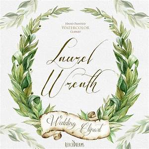 Laurel Wreath Watercolor Hand Painted Clipart By ...