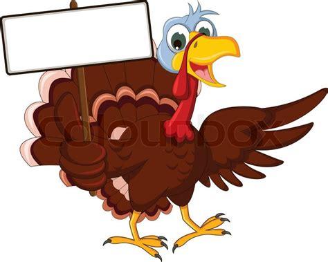 funny turkey cartoon posing  blank sign stock vector