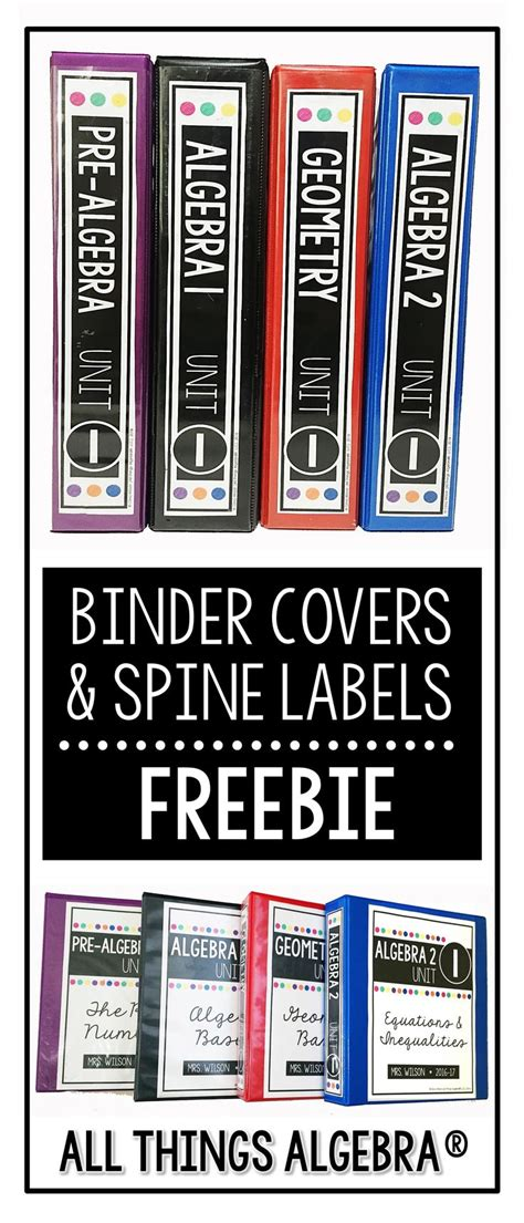 secondary math binder covers  spine labels