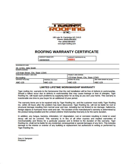 free roof certification template roof certification form