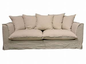 Canape fixe 3 places en tissu cocoon coloris lin sable for Tapis oriental avec canapé droit tissu 4 places