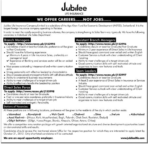 This company has no reviews >> be the first to review. Jobs in Jubilee Life Insurance in Islamabad, Rawalpindi, Wah Cantt, Chakwal, Dina, Jhelum ...