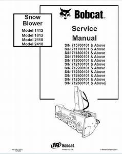 Bobcat 1412 1812 2118 2418 Snowblower Service Manual Pdf