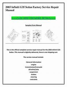 2003 Infiniti G35 Sedan Factory Service Repair Manual By