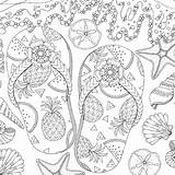 Paradise Coloring Tropical Canvas sketch template
