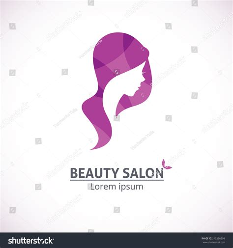 vector template abstract logo for salon stylized profile of a beautiful