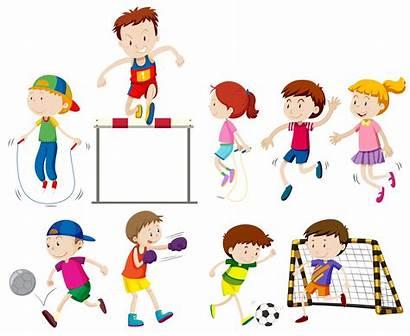 Sports Different Children Doing Kinds Clipart Illustration