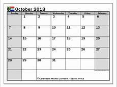 Calendar October 2018, South Africa Michel Zbinden EN