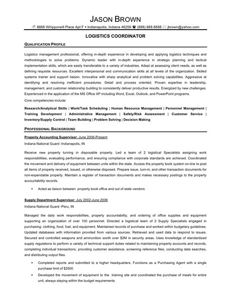 Transportation Resume by Career Logistics Resume Sle Writing Resume