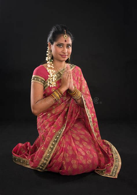 indian girl   greeting pose royalty  stock  image