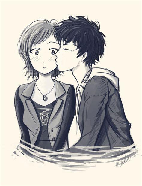 anime couple kiss on cheek first kiss by mcorderroure on deviantart