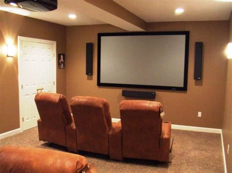 Small Home Basement Media Room Ideas Brown Leather Sofas