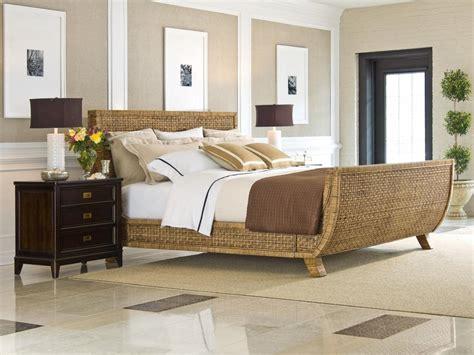 neutral transitional bedroom  rattan sleigh bed hgtv