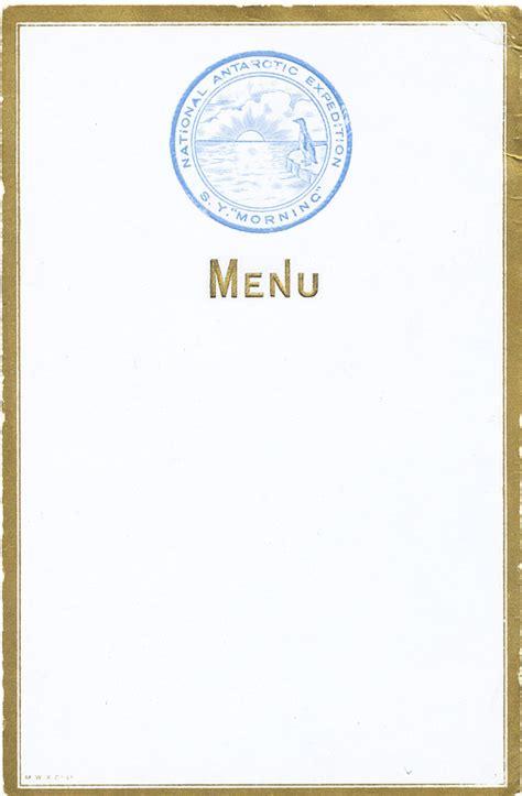 blank menu card  morning monogramme  morning relief