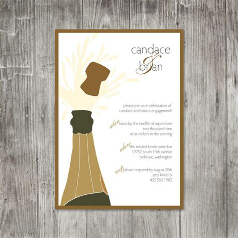 bust   bubbly champagne themed wedding invitations