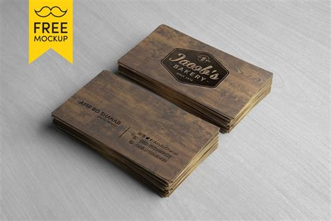 card visit template psd wood free wooden business card mockup psd