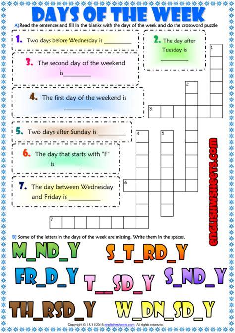 days   week esl printable exercises worksheet  kids