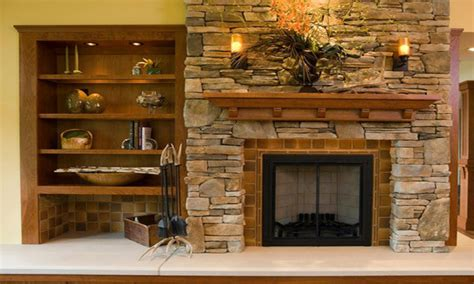 bookcase wallpaper  stone fireplace  shelves