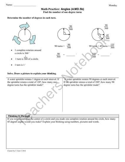 common 4th grade math measurement worksheets angles