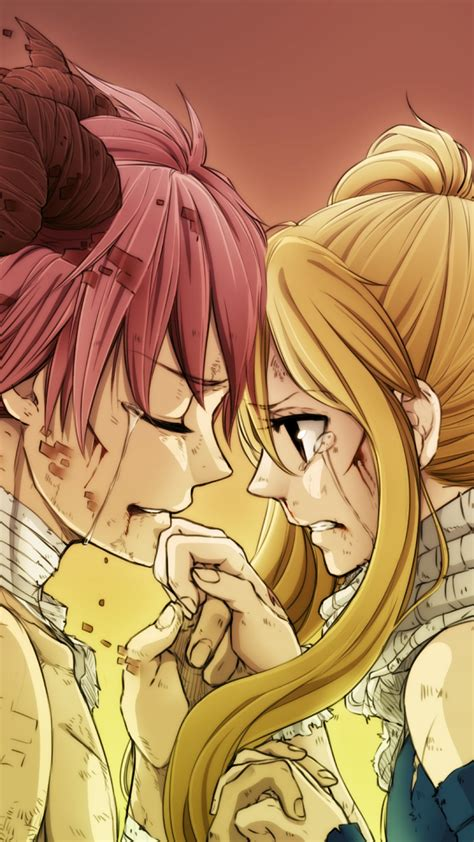 natsu  lucy fairy tail tears scarf  fight pic