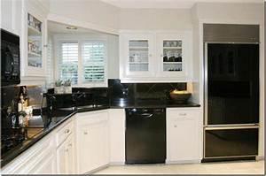 small stylish kitchen black appliances with corner lamp With kitchen designs with black appliances