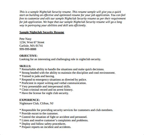 Cctv Surveillance Resume by Sle Security Resume 11 Free Documents In