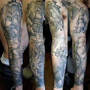 Old school black and white nautical tattoo on sleeve ...