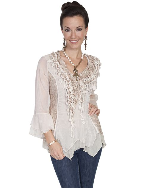 scully womens natural lace ruffled western blouse