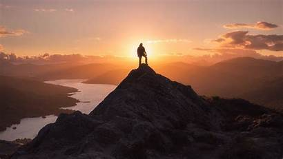 Mountain Silhouette Victory Freedom Peak Background 1080p