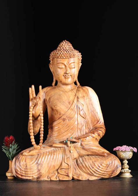"""The word buddha is a sanskrit word which means the awakened one, one who is awakened to reality, who understands true nature of the mind buddhahood is the condition or rank of a buddha. SOLD Wooden Teaching Bali Buddha Statue 24"""" (#97bw3): Hindu Gods & Buddha Statues"""