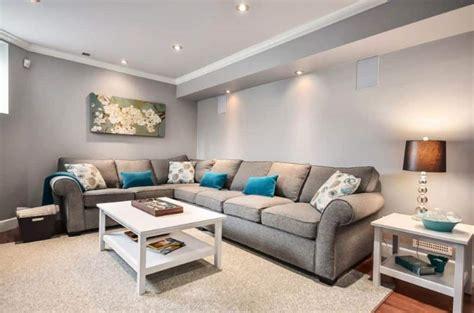 basement living room  grey wall color  sectional sofa nice basement decorating ideas