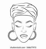 African Coloring Turban Contour Shutterstock sketch template